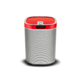 Play:1 All-In-One Wireless Music Streaming Speaker (White) with Flexson ColourPlay Skin (Red)