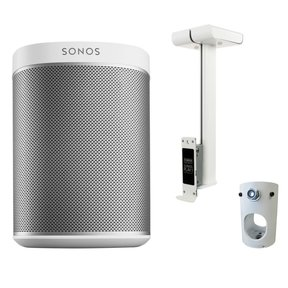 PLAY:1 All-In-One Wireless Music Streaming Speaker with Flexson Ceiling Mount and Pole Adapter (White)