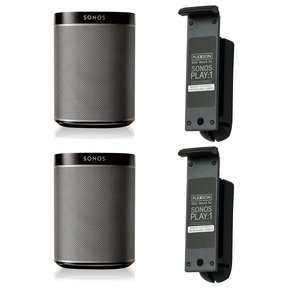 Play:1 All-In-One Wireless Music Streaming Speakers - Pair with Flexson Wall Mount - Pair