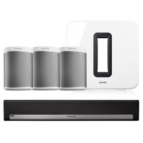 PLAY:1 Compact Wireless Music Streaming Speakers - Set of 3 with PLAYBAR Wireless Streaming Hi-Fi Soundbar and SUB Wireless Subwoofer