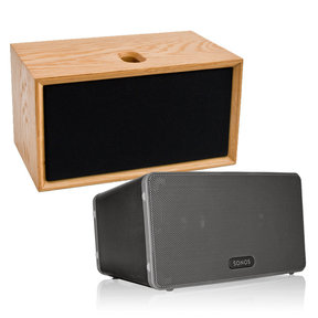 PLAY:3 All-In-One Wireless Music Streaming Speaker (Black) with Leon ToneCase Hardwood Cabinet
