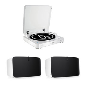 PLAY:5 Sound System with Audio Technica AT-LP60WH-BT Automatic Turntable (White)