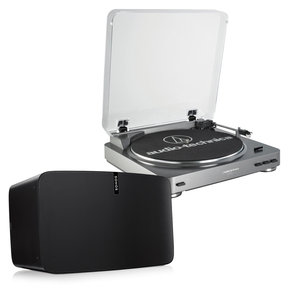 PLAY:5 - Ultimate Wireless Smart Speaker (Black) with Audio-Technica AT-LP60 Fully Automatic Stereo Turntable System with Two Speeds (Silver)