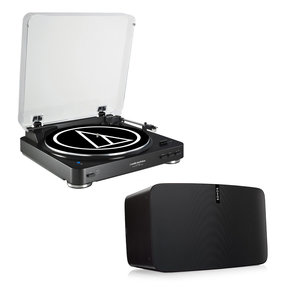 PLAY:5 - Ultimate Wireless Smart Speaker (Black) with Audio-Technica AT-LP60-USB Fully Automatic Belt-Drive USB & Analog Stereo Turntable (Black)