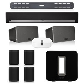 Entertainment Set with (4) Sonos One Voice-Controlled Smart Speakers, (2) Play:3 Wireless Smart Speakers, SUB Wireless Subwoofer, PLAYBAR Wireless Sound Bar with Wall Mount, & BOOST Enterprise-Grade Wireless Adapter