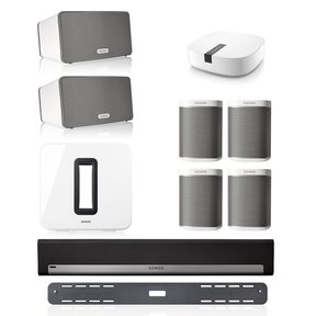 Entertainment Set with (4) Sonos Play:1 Wireless Smart Speakers, (2) Play:3 Wireless Smart Spekaers, SUB Wireless Subwoofer, PLAYBAR Wireless Sound Bar with Wall Mount Kit, & BOOST Enterprise Grade Wireless Adapter