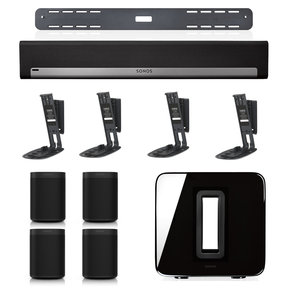 PLAYBAR Wireless Streaming Hi-Fi Soundbar, Wall Mount Kit, and SUB Wireless Subwoofer Package with 4 ONEs and Flexson Wall Mounts