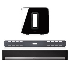 PLAYBAR Wireless Streaming Hi-Fi Soundbar with Sonos PLAYBAR Wall Mount Kit and Sonos SUB Wireless Subwoofer (Black)