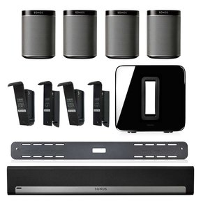 PLAYBAR Wireless Streaming HiFi Soundbar, Wall Mount Kit, and SUB Wireless Subwoofer Package with 4 PLAY:1s and 4 Flexson Wall Mounts
