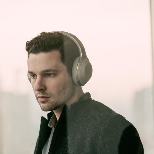 View Larger Image of MDR-1000X Wireless Noise-Cancelling Headphones with Built-In Mic
