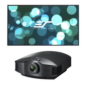 "VPL-HW45ES Full HD SXRD Home Cinema Projector with Elite Screens Aeon Series 120"" Edge-Free Projector Screen"