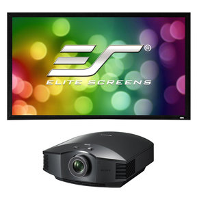 """VPL-HW45ES Full HD SXRD Home Cinema Projector with Elite Screens Frame 2 Series 110"""" Projector Screen with CineWhite Material (Black)"""