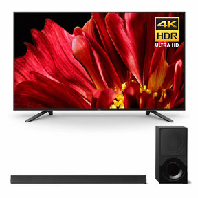 """XBR-75Z9F 75"""" MASTER Series BRAVIA 4K HDR UHD TV and HT-X9000F 2.1-Channel Dolby Atmos Sound Bar with Subwoofer"""