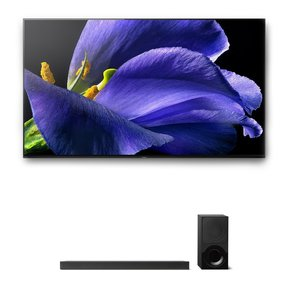 """XBR-77A9G 77"""" BRAVIA OLED 4K UHD HDR TV and HT-X9000F 2.1-Channel Dolby Atmos Sound Bar with Subwoofer"""