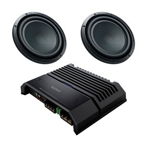 "XM-GS100 GS-Series 600-Watt Monoblock Subwoofer Amplifier with pair of XS-GSW121D GS-Series 12"" 4-Ohm Dual Voice Coil Subwoofers"