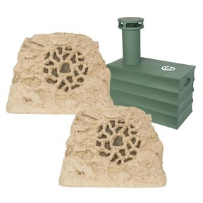 """Boom Tomb 10"""" In-Ground Subwoofer with Ruckus 8 One Rock Landscape Speaker - Pair"""