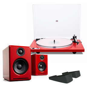 Orbit Plus Turntable with Built-In Preamplifier and Audioengine A2+ Limited Edition Premium Powered Desktop Speakers with Speaker Stands (Red)