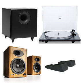 Orbit Plus Turntable with Built-In Preamplifier and Audioengine A5+ Speaker System with Speaker Stands and S8 Compact Powered Sub