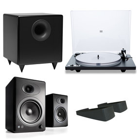 Orbit Plus Turntable with Built-In Preamplifier and Audioengine A5+ Classic Powered Bookshelf Speakers with Speaker Stands and S8 Premium Powered Sub
