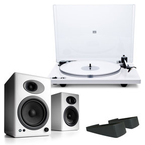 Orbit Plus Turntable with Built-In Preamplifier and Audioengine A5+ Classic Powered Bookshelf Speakers with Speaker Stands (White)