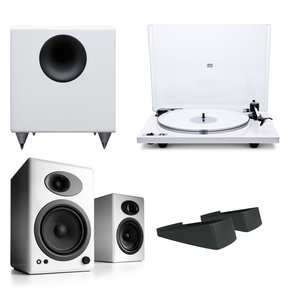 Orbit Plus Turntable with Built-In Preamplifier (White) and Audioengine A5+ Classic Powered Bookshelf Speakers (White) with Speaker Stands and S8 Premium Powered Subwoofer (White)
