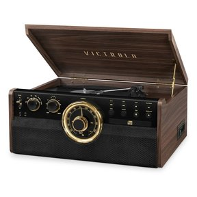 6-in-1 Wood Empire Bluetooth Record Player with 3-Speed Turntable, CD, Cassette Player and Radio