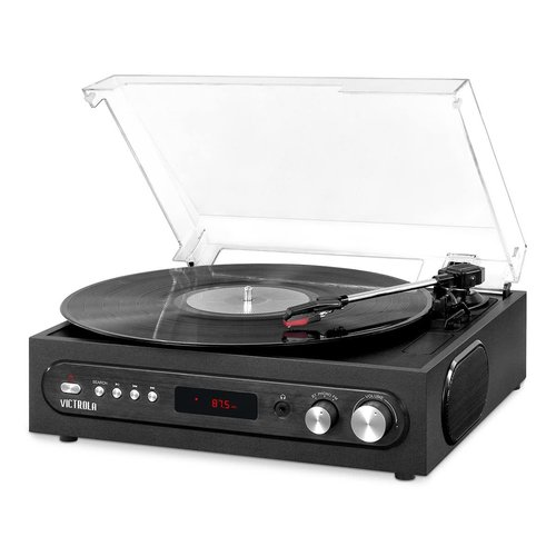View Larger Image of All-in-1 Bluetooth Record Player with Built in Speakers and 3-Speed Turntable