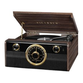 Wood Metropolitan Bluetooth Record Player with 3-speed Turntable and Radio