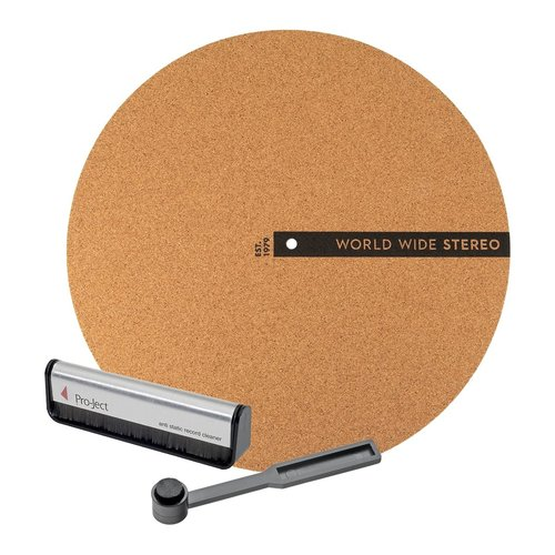 """View Larger Image of Record Care Kit with 12"""" Modern Series Cork Slipmat, Anti-Static Record Brush, and Stylus Brush"""