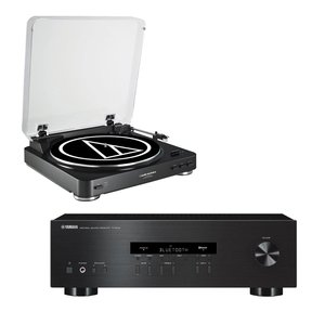 R-S202 Bluetooth Stereo Receiver with Audio Technica AT-LP60-USB USB & Analog Stereo Turntable (Black)