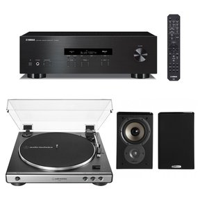 R-S202 Bluetooth Stereo Receiver with Audio-Technica AT-LP60X Automatic Belt-Drive Stereo Turntable (Gunmetal) and Polk TSi100 Bookshelf Speakers - Pair (Black)