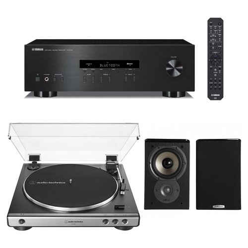 View Larger Image of R-S202 Bluetooth Stereo Receiver with Audio-Technica AT-LP60X Automatic Belt-Drive Stereo Turntable (Gunmetal) and Polk TSi100 Bookshelf Speakers - Pair (Black)