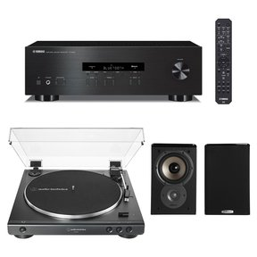 R-S202 Bluetooth Stereo Receiver with Audio-Technica AT-LP60X-BK Fully Automatic Belt-Drive Stereo Turntable (Black) and Polk TSi100 Bookshelf Speakers - Pair (Black)