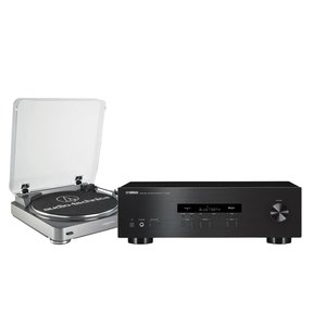 R-S202 Stereo Receiver and Audio-Technica AT-LP60 Fully Automatic Stereo Turntable (Silver)