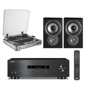 R-S202 Stereo Receiver with Audio-Technica ATLP60 Fully Automatic Stereo Turntable and Polk TSi 100 Bookshelf Speakers