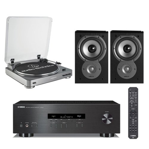 View Larger Image of R-S202 Stereo Receiver with Audio-Technica ATLP60 Fully Automatic Stereo Turntable and Polk TSi 100 Bookshelf Speakers