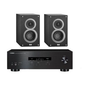 """R-S202 Stereo Receiver with Bluetooth and Elac B4 4"""" Debut Series Bookshelf Speakers - Pair (Black Brushed Vinyl)"""