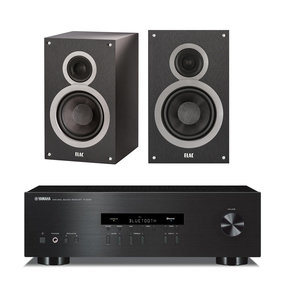 """R-S202 Stereo Receiver with Bluetooth and Elac B6 6.5"""" Debut Series Bookshelf Speakers - Pair (Black Brushed Vinyl)"""