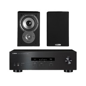 """R-S202 Stereo Receiver with Bluetooth and Polk TSi100 2-Way Bookshelf Speakers with 5-1/4"""" Driver - Pair (Black)"""