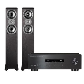 """R-S202 Stereo Receiver with Bluetooth and Polk TSi300 3-Way Tower Speakers with Two 5-1/4"""" Drivers - Pair (Black)"""