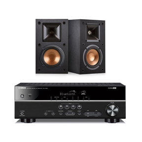 RX-V383 5.1 Channel AV Receiver with Klipsch R-14M Reference Monitor Speakers - Pair (Black)