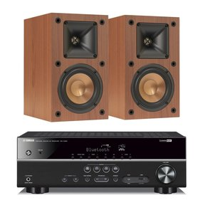RX-V383 5.1 Channel AV Receiver with Klipsch R-14M Reference Monitor Speakers - Pair (Cherry)