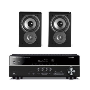 RX-V383 5.1 Channel AV Receiver with Polk TSi100 2-Way Bookshelf Speakers - Pair (Black)