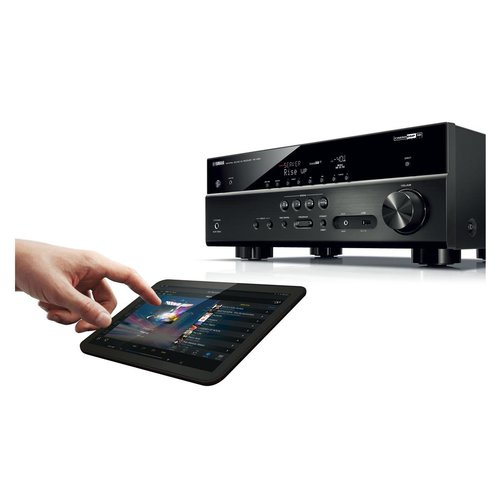 "View Larger Image of RX-V481 5.1-Channel AV Receiver with Wi-Fi/Bluetooth/MusicCast and Polk TSi400 4-Way Tower Speakers with Three 5-1/4"" Drivers - Pair (Cherry)"