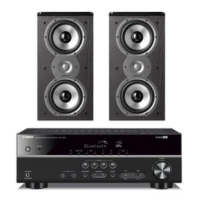 RX-V483 5.1 Channel AV Network Receiver with Polk TSi200 2-Way Bookshelf Speakers - Pair (Black)
