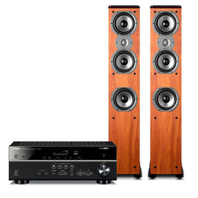 RX-V483 5.1 Channel AV Network Receiver with Polk TSi400 4-Way Tower Speakers - Pair (Cherry)