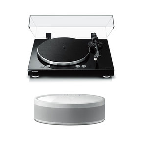 TT-N503BL Turntable with WX-051WH MusicCast 50 Wireless Speaker (White)